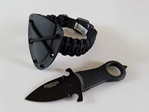 Paracord Ankle Knife with adjustable Pull Quick Release Buckle, US 550lbs 7Strand Cord in black, Defender Extreme Dagger - Ankle Knife