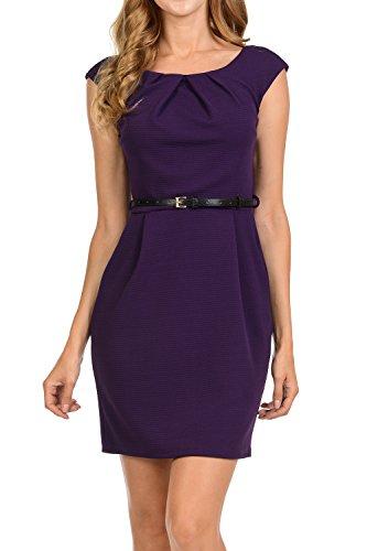 Buy cheap auline collection womens color office workwear sleeveless sheath dress purple medium
