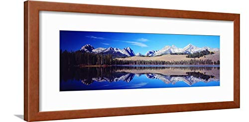 ArtEdge Little Redfish Lake Mountains Id USA Brown Wall Art Framed Print, 8x24, Soft White Mat (Redfish Framed)