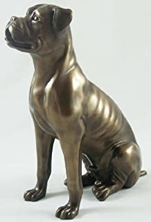 Superb Bronze Sculpture Boxer Dog Statue Ornament