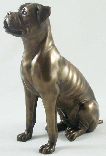 bronze sculpture boxer dog statue ornament amazon co uk kitchen home