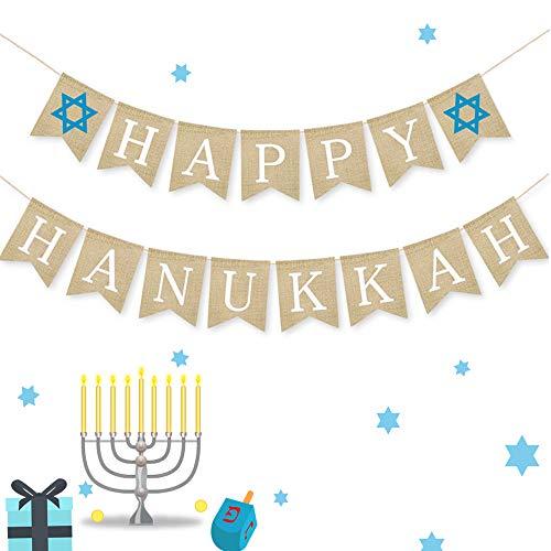 Happy Hanukkah Banner Chanukah Decorations Burlap Banners, 2 Hanukkah Banners (Burlap Banners)