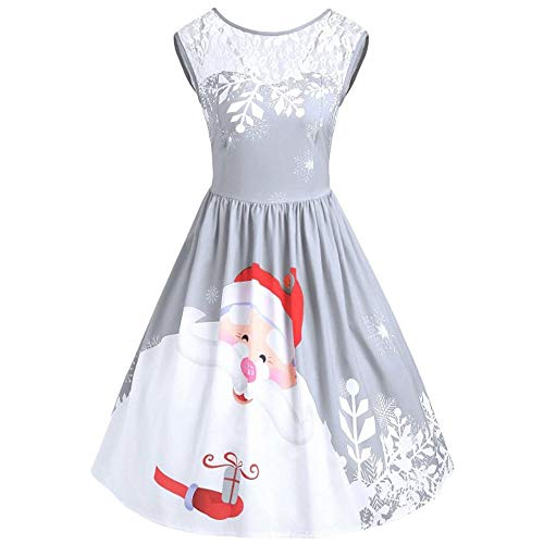 Merry Christmas Women Plus Size Lace Round Neck Santa Claus Print Flared Cocktail Party Dress with Lace (B_Gray, L)