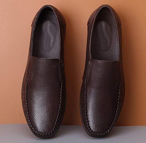 Casuales Mocasines Y Zapatos Perezosos Negocios MYXUA Brown De Zapatos Hombres De Zapatos Los Respirables Cómodos HCxUqwg