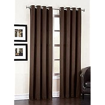 """Gorgeous Home *DIFFERENT SOLID COLORS & SIZES* (#72) 1 PANEL SOLID THERMAL FOAM LINED BLACKOUT HEAVY THICK WINDOW CURTAIN DRAPES BRONZE GROMMETS (BROWN COFFEE, 108"""" LENGTH)"""