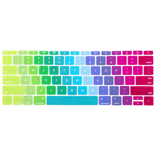 MOSISO Protective Keyboard Skin Compatible MacBook 12 Inch with Retina Display A1534 (Newest Version 2017/2016/2015), Blue and Pink