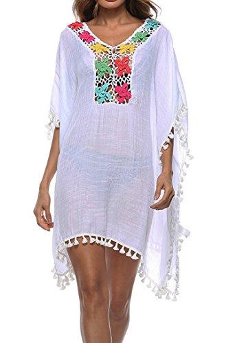 Wander Agio Womens Cover up Bohemia Swimsuit Beach Bikini Coverups Tassels Knit Flower White -