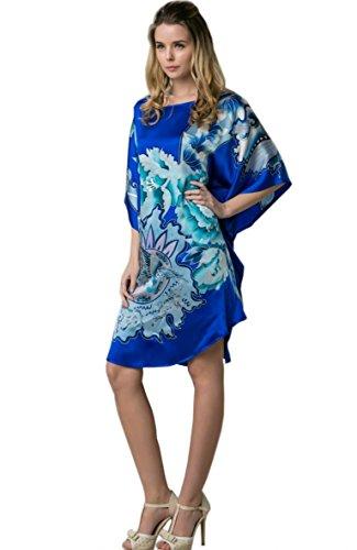 Mano Ybs802 Con A Satén La Crepé Real Prettystern Azul 100 Camisón Chino De Pintura Pintado Del Kimono Seda Cepillo RqP1wa
