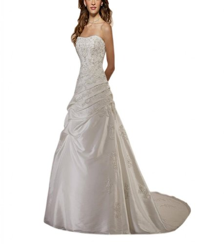 Ausschnitt Kleidungen Brautkleider Herz Weiß Schleppe Damen Dearta Hof Etui Linie Chiffon CRqXngw