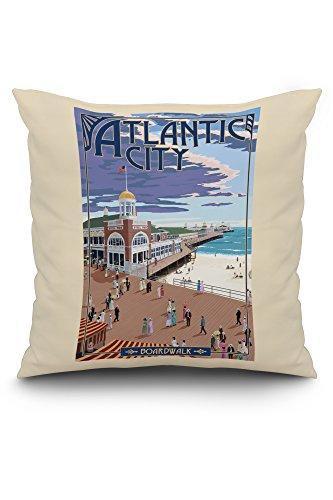 Lantern Press Atlantic City, New Jersey - Boardwalk (20x20 Spun Polyester Pillow, White Border)