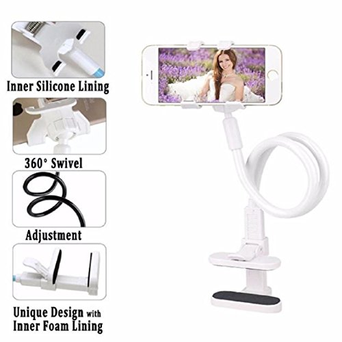 Mchoice Flexible Long Arms Cell Phone Clip Holder Stand with Sitck-On Car Mount (White)