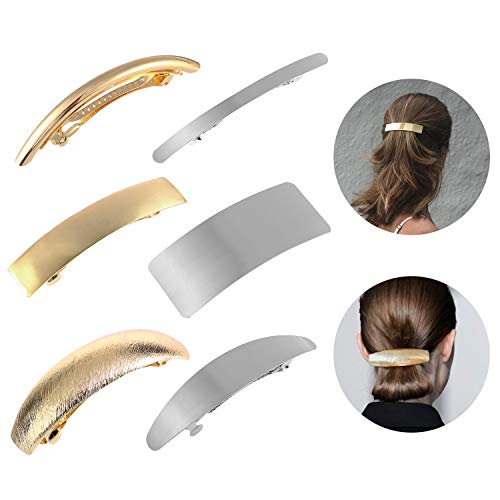 Hair Clips for Women Ladies, Funtopia 6 Pcs Simple Fashion Metal Hair Clips French Styles Hair Barrettes for Medium and Thick Hair, No Slip and Durable Automatic Clasp (Gold and Silver) (Hair Clasp)