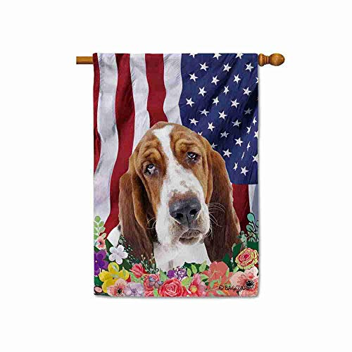 BAGEYOU American Flag with My Love Dog Basset Hound 4th of July Patriotic Decoraive House Flag for Outside Colorful Flowers Summer Home Decor Banner 28x40 Inch Printed Double Sided