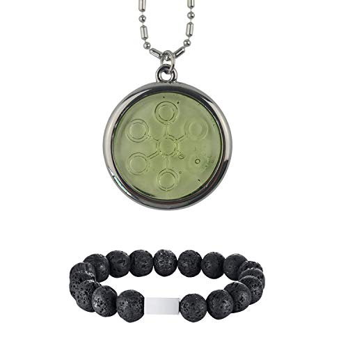 Anti EMF Radiation Protection Pendant, Scalar Energy Pendant Negative Ions Bio Disc Pendant Necklace and Lava Rock Aromatherapy Essential Oil Diffuser Bracelet (One Pendant and one -
