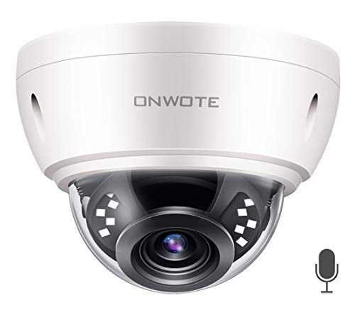 (ONWOTE 【Audio】 5MP HD IP POE Security Camera Outdoor Dome Onvif, 5 Megapixels 2592x 1944P Super HD Vandalproof Camera, 100ft IR, 90° Viewing Angle, IP66 Waterproof, Remote Access, Motion Alert )