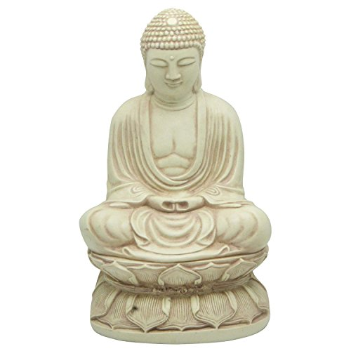 Japanese Buddha Statues - Meditating Japanese Buddha Statue in Stone Finish, 9 Inches