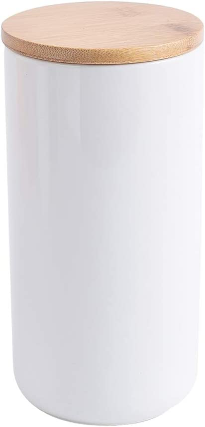 KVV Food Storage Jar, 40 OZ (1200 ML), Ceramic with Airtight Seal Bamboo Lid - White Color Design Canister for Serving Tea, Coffee, Spice,4 x 4 x7.8 Inches Utensil Crock, Tool Holder (White, 40 OZ)