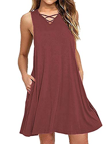 kigod Casual Sleeveless V Neck Lace Up Criss Cross Swing T-Shirt Dresses with Pockets (Wine Red, Small) -
