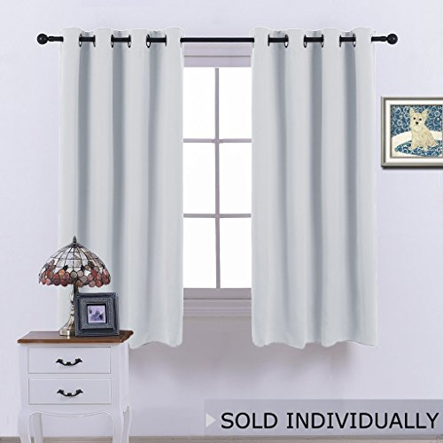 Room Darkening Curtain for Bedroom - (Greyish White/ Silver Grey Color) Solid Thermal Insulated Blind Room Darkening Drape / Drapery for Windows by NICETOWN ,52x63-Inch, One Pack (Sale Bedroom 1 For)