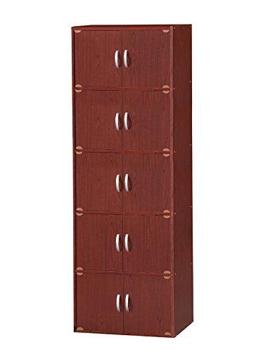 Hodedah 10 Door Storage Cabinet, Mahogany