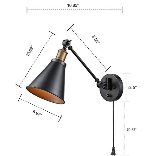 CLAXY Ecopower Industrial Swing Arm Wall Sconce Retro Reading Wall Lamp-2 Pack by CLAXY (Image #8)