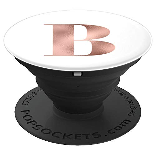 B Initial Rose Gold Classic 50s 60s Style Plain White Color - PopSockets Grip and Stand for Phones and Tablets