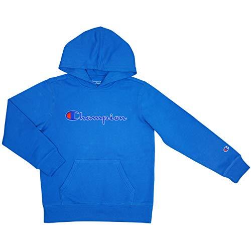 Champion Boys Hooded Sweatshirt Script Logo Heritage Collection (Medium, Deep Hotline Blue)
