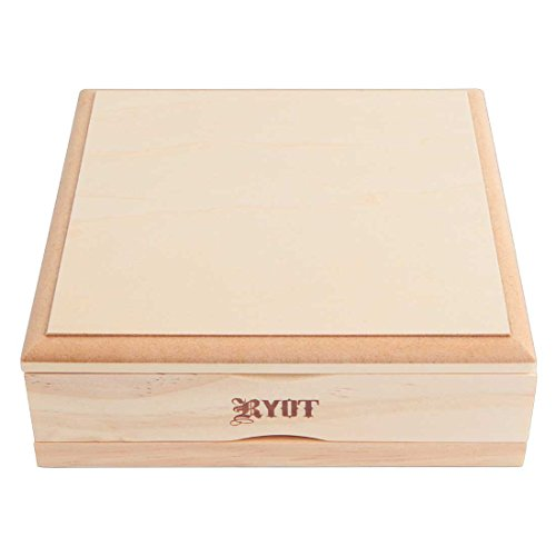 RYOT 7x7 Solid Top Screen Box in Natural | Wide Wooden Box Perfect for Sifter - Monofilament Mesh Screen - Glass Base Tray - Prep Card - Storage Divider