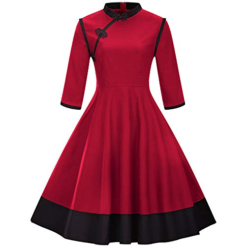 Lowprofile Chinoiserie Dress Women Chinese Vintage Retro Midi Dress 3/4 Sleeve Flare Dress Red