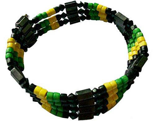 BUNFIREs Beaded Jamaican Rasta Style Necklace, Anklet or Wristband Chains Bracelet Wrist Bracelets Jamaica Magnetic Hematite Metal for Arthritis Pain Relieve