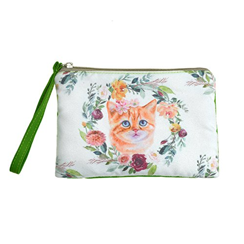 Rantanto Cute Classic Exquisite Canvas Cash Coin Purse, Make Up Bag, Cellphone bag With Handle (BG0008 Cat) ()