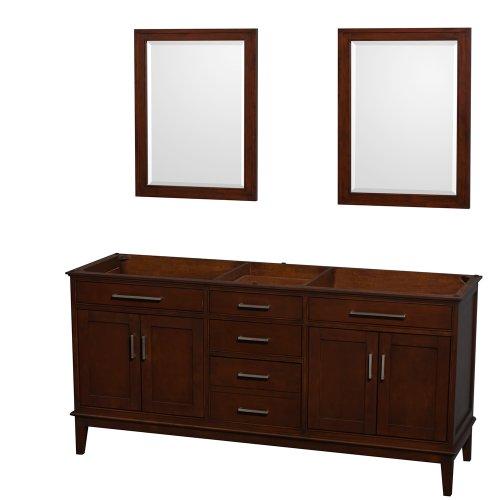 Wyndham Collection Hatton 72 inch Double Bathroom Vanity in Dark Chestnut, No -