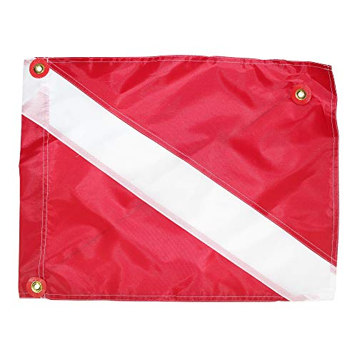 International Dive Flags - Nylon Diver Down Flag - Scuba Diver Flag - Legal Size Safety Flags - Boat Flag Marker for Snorkeling, & Underwater Activities (20x24 inches with Stiffiner, Red & White) ()