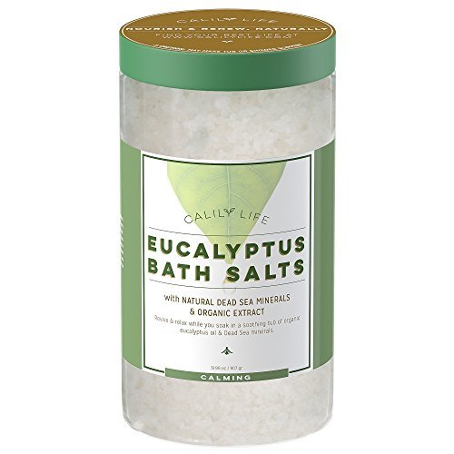 Calily Life Organic Dead Sea Salt with Eucalyptus 32 Oz – Luxurious and Therapeutic Bath Salt Soak – Rejuvenates Relaxes and Soothes Mind and Body