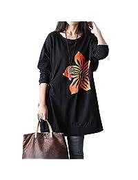 Women Casual Loose Long Hoodies Dress Sweatshirt Hooded Pullovers