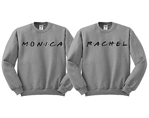 Monica and Rachel BFF Duo Sweatshirt Men's/Unisex Small Grey