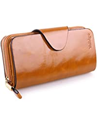 Large Luxury Women's RFID Blocking Tri-fold Leather Wallet Zipper Ladies Clutch Purse