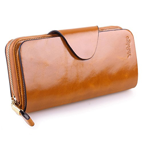 Yafeige Large Luxury Women's RFID Blocking Tri-fold Leather Wallet Zipper Ladies Clutch Purse(1-Waxed Brown)