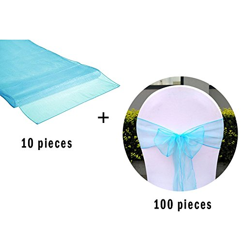 (David accessories Organza Chair Sashes Organza Table Runner Set Romantic Bow Sash for Wedding and Events Supplies Party Decoration Chair Sash Table Cover (Blue))