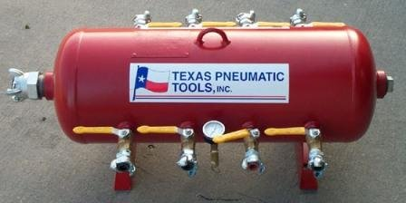 Texas Pneumatic Tools, Inc. 15 Gallon, 8 Outlet, Tank Style, Pneumatic Air Distribution Manifold TX2AMF