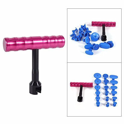 Jahyshow 18Pcs Paintless Dent Repair Car Body Repair Kit Small Red T-Bar Puller Dent Puller Kit Suction Cups Fungi Glue - Light Fix On Car How Scratches To