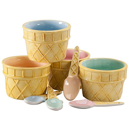 Ceramic Ice Cream Cups With Spoons, Set of 8 (Tumbler Custard)