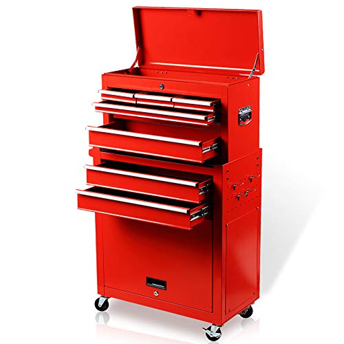Tool Chest 8-Drawer Tool Box High Capacity Rolling Tool Cabinet with Wheels and Drawers for Storage Garage, Mobile Toolbox Top & Bottom Key Lockable (Red)