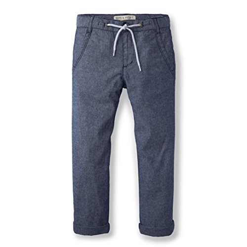 Hope & Henry Boys Chambray Rolled Cuff Pant With Drawstring Made With Organic Cotton