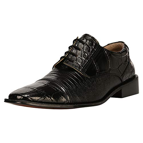 (Liberty Exotic Men's Crocodile/Lizard Print Oxford Hand-Picked PU & Genuine Leather Stitched Lace up Dress Shoes Exclusive Collection Black)