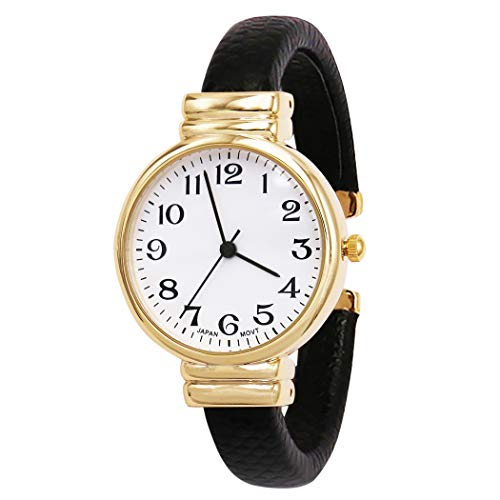 Rosemarie Collections Women's Faux Snake Skin Patterned Cuff Watch (Black/Gold)