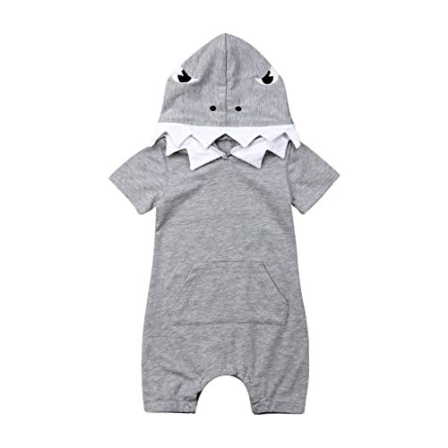 LiLiMeng 2019 New Newborn Baby Boy Infant Kid 3D Cartoon Printed Short Sleeve Hoodie Romper Costume Jumpsuit Clothes Gray