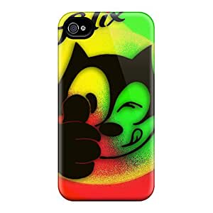 Shockproof Cell-phone Hard Cover For Iphone 4/4s (dHX19886GLAr) Support Personal Customs Realistic Felix The Cat Image