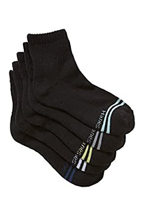 Hanes Kids Cotton Blend Active Quarter Crew Socks (5 Pack), Black, 9-12