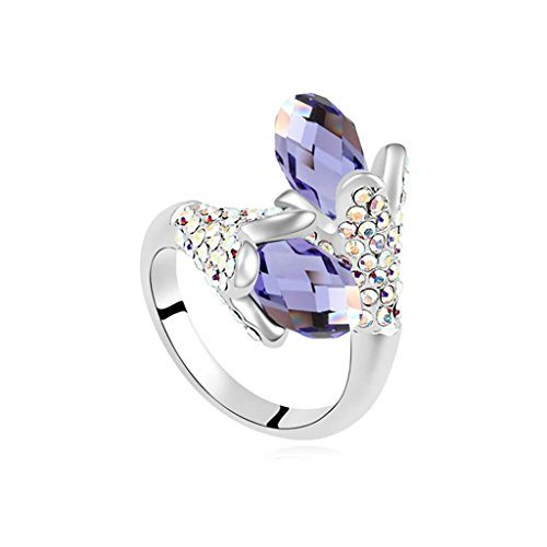 Epinki Gold Plated Ring, Womens Tanzanite Double Flower Drop Cubic Zirconia Ring Size 6.5